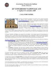 Scarica Call For Paper (pdf) - 64° Congresso ATI - Università degli ...