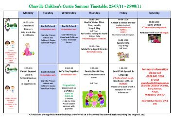 Charville Children's Centre Summer Timetable: 25/07/11 Charville ...