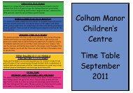 Colham Manor Children's Centre Time Table September 2011