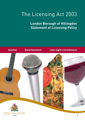 9064 Licencing policy cover - London Borough of Hillingdon