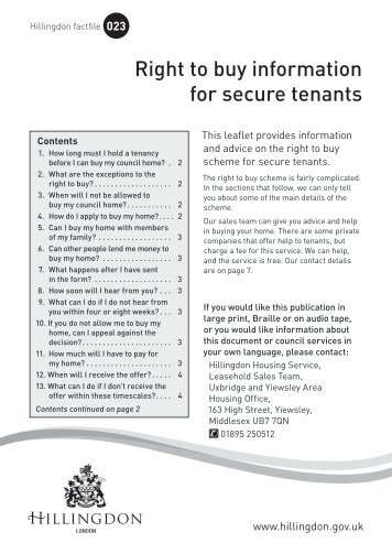 Right to buy information for secure tenants