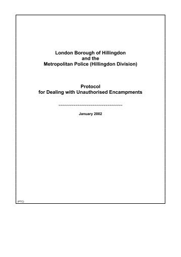Protocol for Dealing with Unauthorised Encampments - London ...