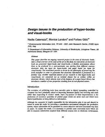 Design issues in the productionof hyper-books and visual-books