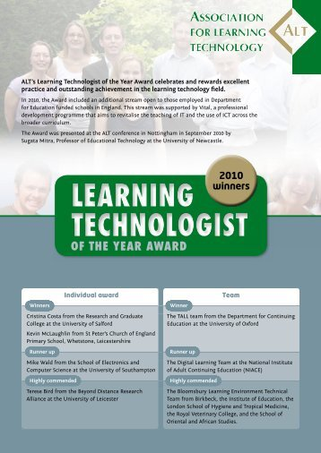 Learning Technologist of the Year - ALT Open Access Repository