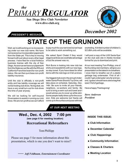 December 2002 - Sport Chalet Dive Club
