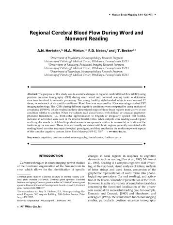 Regional cerebral blood flow during word and ... - Purdue University