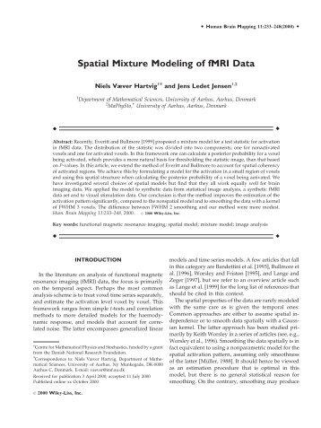 Spatial mixture modeling of fMRI data - Purdue University