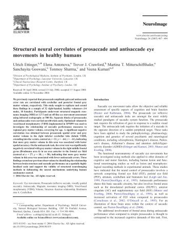 Structural neural correlates of prosaccade and ... - Purdue University
