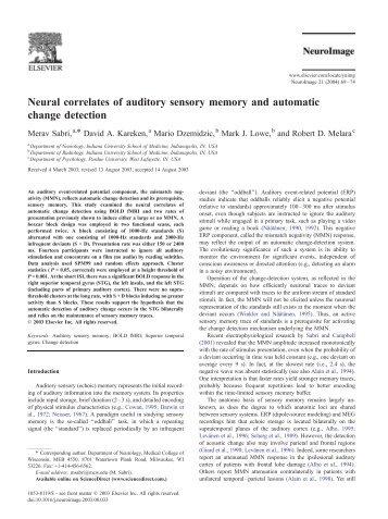 Neural correlates of auditory sensory memory ... - Purdue University