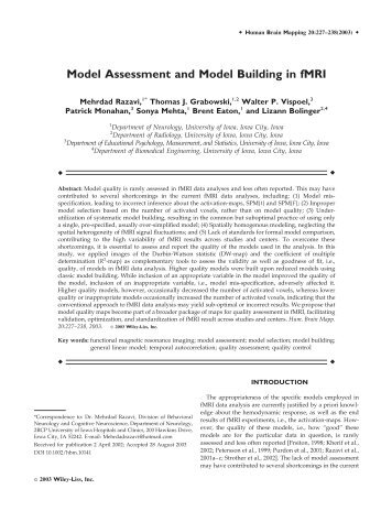 Model assessment and model building in fMRI - Purdue University