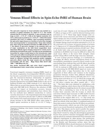 Venous blood effects in spin-echo fMRI of ... - Purdue University