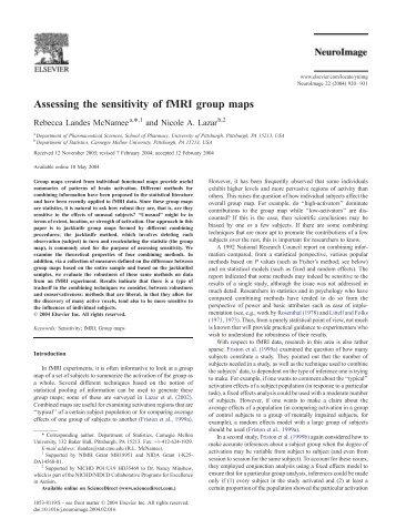 Assessing the sensitivity of fMRI group maps - Purdue University
