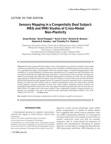 Sensory mapping in a congenitally deaf subject ... - Purdue University
