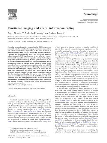 Functional imaging and neural information coding - Purdue University