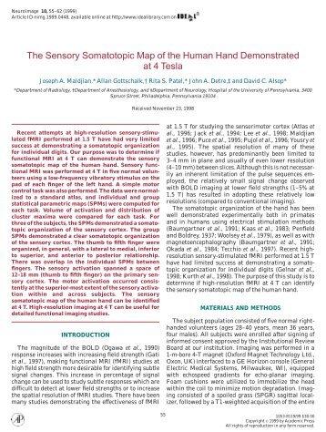 The Sensory Somatotopic Map of the Human ... - Purdue University