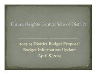 04/08/13 Budget Presentation - Elmira Heights Central School District