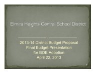 04/22/13 Budget Presentation - Elmira Heights Central School District