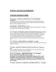 EVENTS – PAS DE CALAIS REGION AUTUMN AND HALF TERM 9 ...