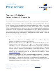 Press Release STandard Life Updates Demutualisation Timetable