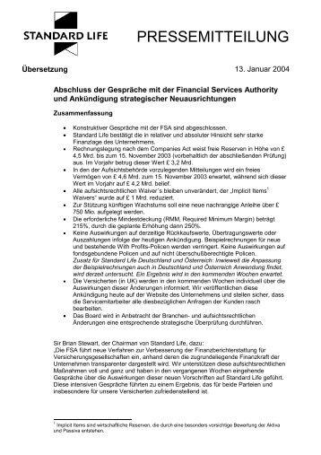 Pressemitteilung FSA - Standard Life