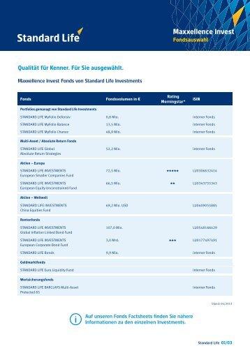 Infoblatt Maxxellence Invest Fondsauswahl - Standard Life