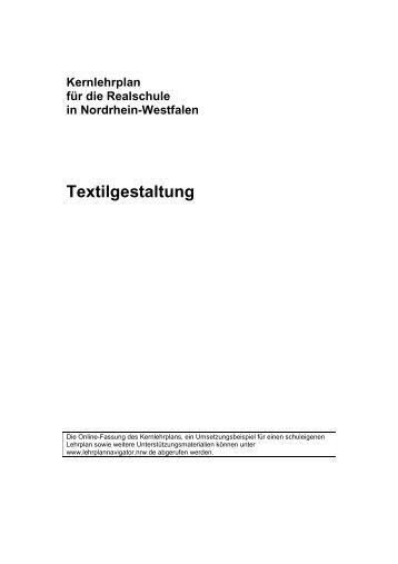 Kernlehrplan Textilgestaltung - Standardsicherung NRW