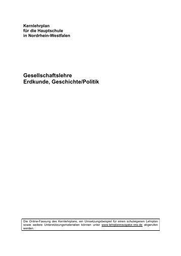 Kernlehrplan Gesellschaftslehre - Standardsicherung NRW