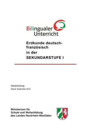Handreichung Erdkunde deutsch-französisch in der Sekundarstufe I