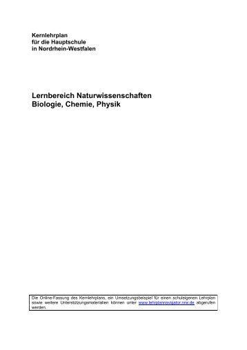 Kernlehrplan Naturwissenschaften - Standardsicherung NRW