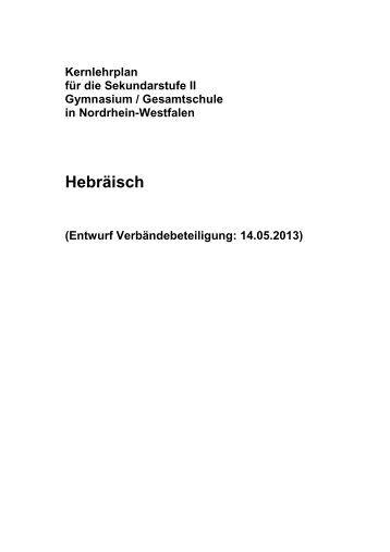 Kernlehrplan Hebräisch - Standardsicherung NRW