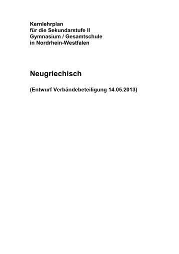 Kernlehrplan Neugriechisch - Standardsicherung NRW