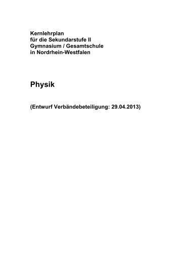 Kernlehrplan Physik - Standardsicherung NRW