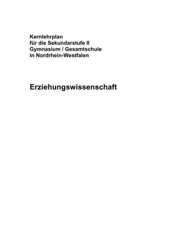 Kernlehrplan Erziehungswissenschaft - Standardsicherung NRW