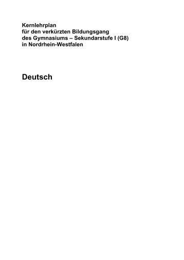 Kernlehrplan Deutsch - Standardsicherung NRW