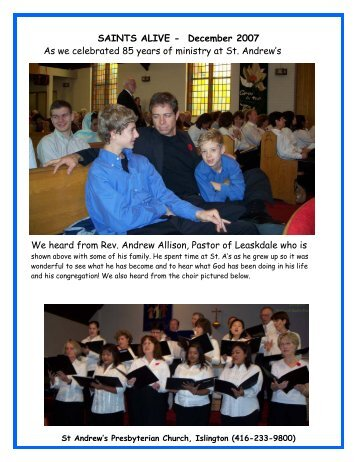 December 2007 - St. Andrew's Presbyterian Church, Islington
