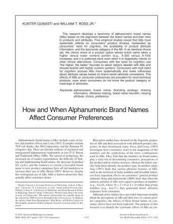 effect of brand name on consumer The effect of generic products on consumer perceptions and brand choice john j wheatley, university of washington abstract - consumer perceptions of the quality of national and private brands are apparently altered when generics are introduced in at least some product categories.