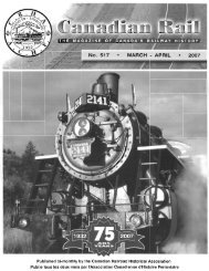 Published bi-monthly by the Canadian Railroad Historical