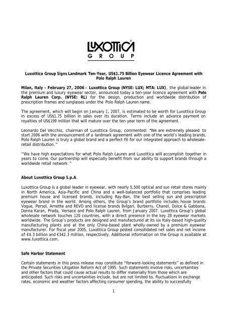1 Luxottica Group Signs Landmark Ten-Year, US$1 75 Billion