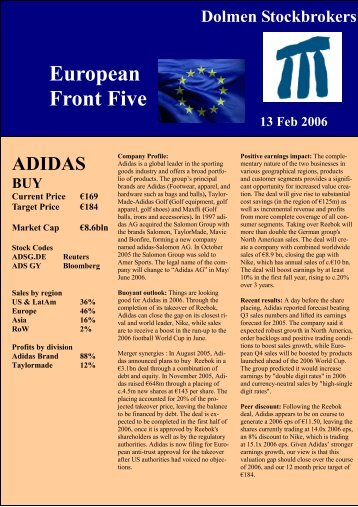 Top European Picks Jan2006 - Dolmen Stockbrokers Ireland