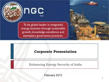 Corporate Presentation - February 2013 - ONGC