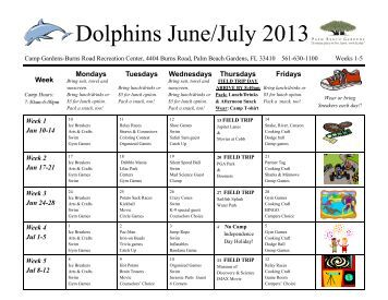 Dolphins Weekly Calendar - City of Palm Beach Gardens