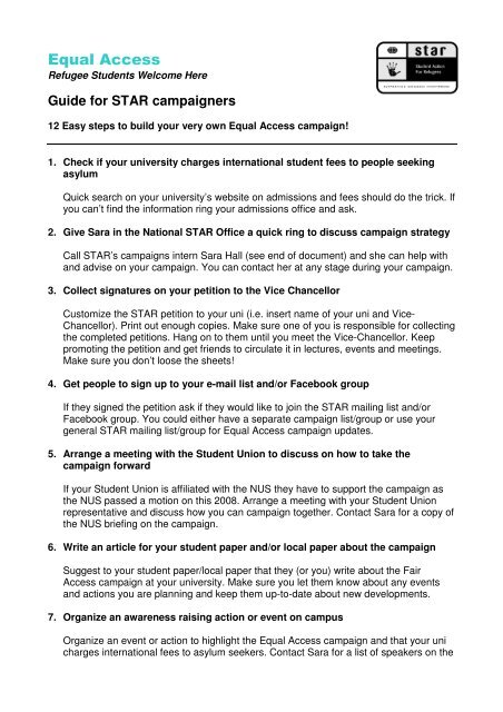 Students Seeking Equal Access To >> Guide To Equal Access Campaign Student Action For Refugees