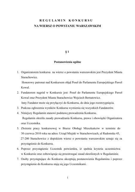 Regulaminkonkursu Na Wiersz O Powstaniu Starachowice