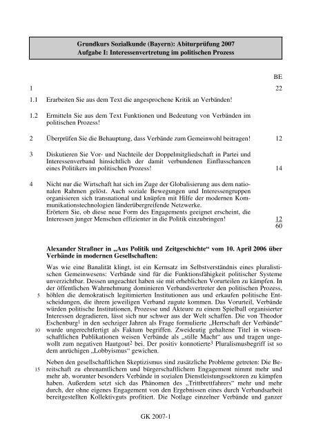 GK 2007-1 Grundkurs Sozialkunde (Bayern ... - STARK Verlag