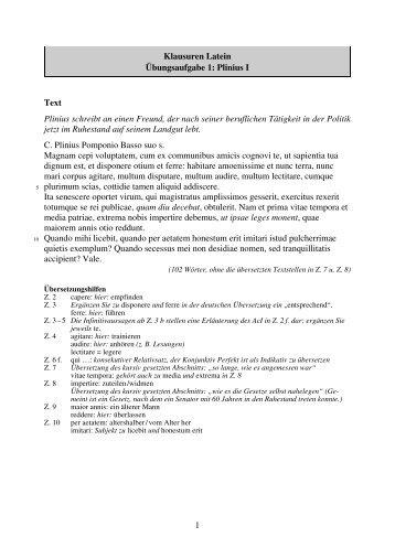 1 Klausuren Latein Übungsaufgabe 1: Plinius I Text ... - STARK Verlag