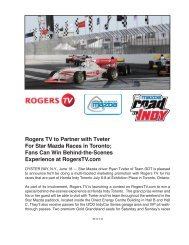 Rogers TV to Partner with Tveter For Star Mazda Races in Toronto ...