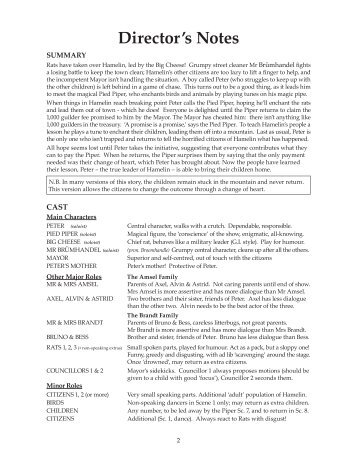 Pied Piper Book Directors Overview & Cast List.pdf - Starshine Music