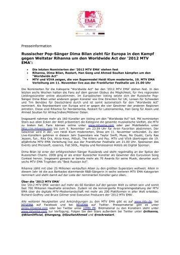 2012 MTV EMA - Worldwide Act Nominierte - Kruger Media