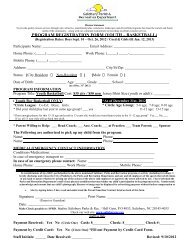Basketball Registration Form Leagues 2012-13