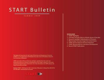 Summer 2009 START Bulletin - START - National Consortium for the ...